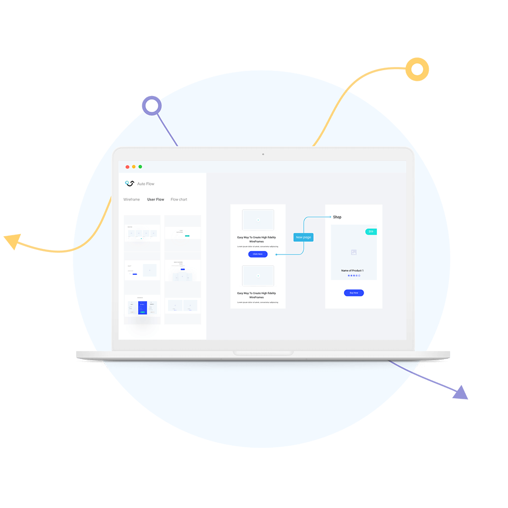 Auto flow creates user flow and flow chart for UI designers